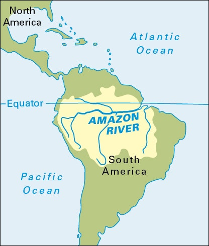 Amazon River In South America Map.The Amazon River The Amazing Amazon Collinson Library At St