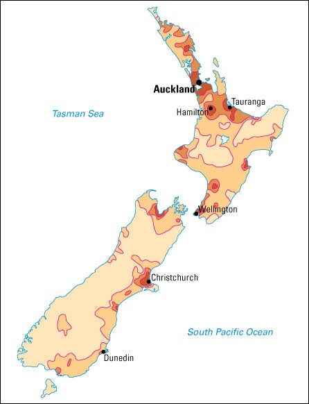 Population density in New Zealand | Map | World Book Student